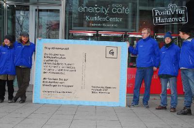 Greenpeace Neujahrswunsch an enercity: Stopp Klimawandel!